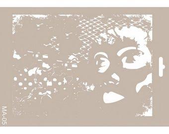 Stencil 21 x 30 cm, MA-05, Home Decor, Mixed Media, airbrushing stencils, fabric stencils, furniture stencils.