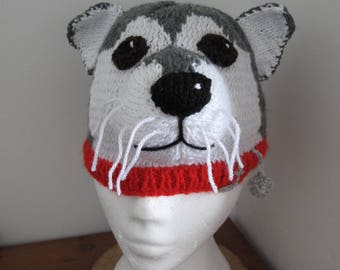 Knitted Beanie ,Hat of a Siberian Husky
