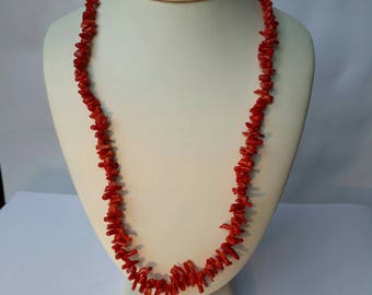 Red coral branch necklace vintage beads