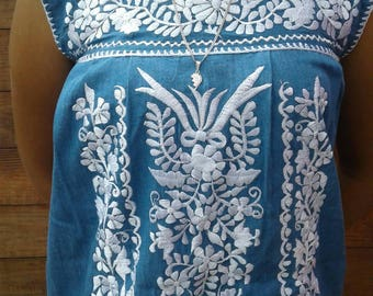 Mexican Bohemian Embroidered  Sleeveless dress size Small/