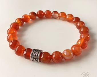 Mens bracelet - Sardonyx bracelet - Sardonyx beads - Red Onyx beads - Beaded bracelet