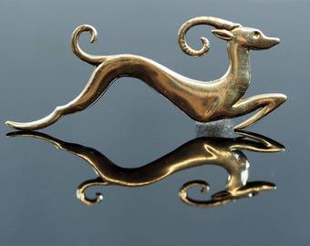 Art Deco Silver Antelope Brooch