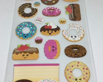 Kawaii Donut Puffy Stickers
