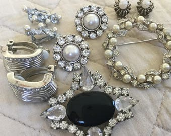 Vtg silver and rhinestone deal!/vtg silver costume jewelry