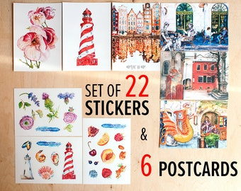 Postcrossing stickers Art postcards set Hand drawn stickers Watercolour sticker art Cute sticker set Watercolor postcard Matte sticker pack