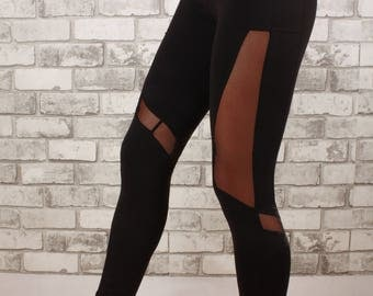 Mesh legging cut-out elastic waist three quarter length -Zen