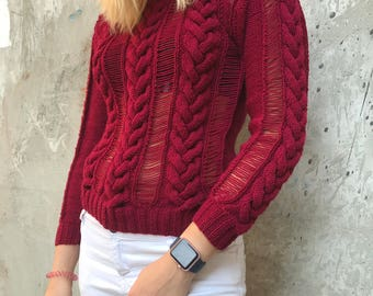 Women red sweater knit pullover clothing light sweater jumper sexy see through clothing knitted party jumper braid knit gift Burgundy winter