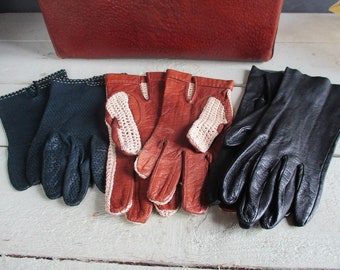 Steampunk leather gloves.French steampunk clothing.Leather gloves . Ladies vintage leather gloves size 7.Costume gloves.French fashion.Nice.