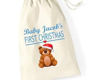 Personalised Teddy Babys First Christmas Santa Sack Reindeer Xmas Present Stocking Drawstring Keepsake Tumblr Pintrest