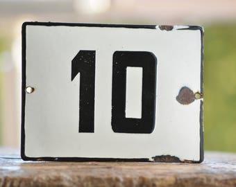 Street House Number 10,Door Gate Plate,Vintage Enamel Sign,European Black and White Street House Number,Wall Decoration,Old Address Sign