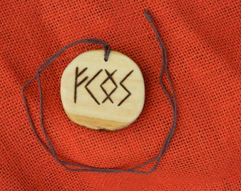 "Wooden Rune-bind talisman ""Luck attraction"" pyrography hand made Asatru Wicca Pagan Elder FUTHARK"