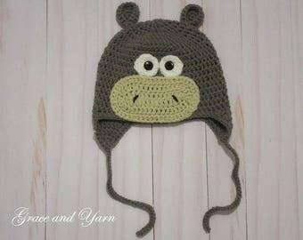 Crochet Hippo Earflap Hat, Boy