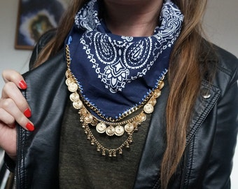 Navy Blue Bandana with Gold Chain and Charms