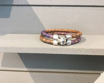 Double leather braided bracelet with DQ magnetic closure