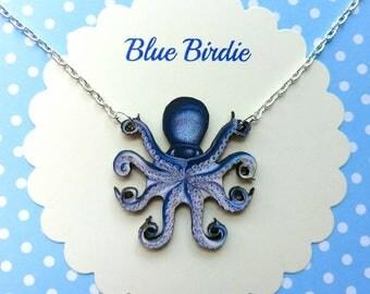 Octopus necklace octopus jewelry purple octopus bib necklace octopus jewellery octopus gifts sea creature necklace nautical necklace