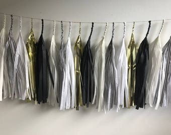 Fully Assembled Tassel Garland,Black ,White, Gold Garland, Graduation banner, Tissue Tassel Garland, Fringe Bannerl