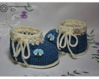 Crochet Baby Shoes / Crochet Baby Booties / Unisex Baby Sneakers / Blue Shoes / Baby Boy Gift / Baby Announcement / Cute Baby Shoes / Boots