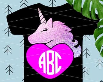 Unicorn SVG Girl Valentine svg Unicorn monogram svg Unicorn eyelash svg Birthday cut file svg files for Cricut Silhouette Unicorn cut files