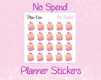No Spend 2 - Planner Stickers, money Stickers, TN Stickers, plan stickers, filofax, saving stickers, cash stickers, pig stickers, piggy bank