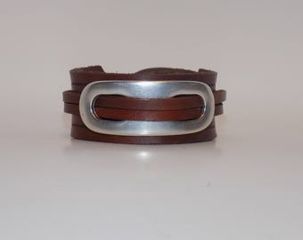 Brown Leather Bracelet with Silver, Brown Leather Cuff, Nickel Free, Leather Jewelry, Men's Leather Cuff, Women's Leather Cuff