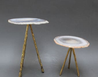 Agate Display Stand on Brass Legs