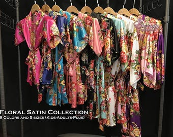 Gifts & Mementos, Satin Robes (9 Colors and 5 sizes-kids/adults/plus), these robes are perfect gift ideas, wedding gifts, girlfriend gifts