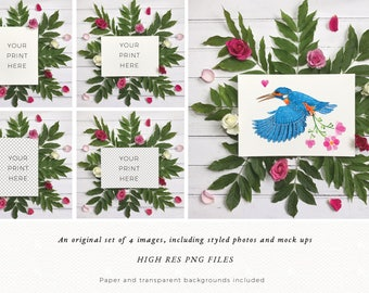 Floral Mock Up | Flatlay | Stock | Photoshop Template | Rustic