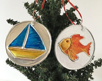 Handmade Aluminum Ornaments, Sailboat Ornament, Fish Ornament, Christmas Ornaments, Double-sided, Lightweight, Unique, Two Ornaments