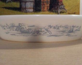Vintage Glasbake Jeannette Glass Co Currier and Ives Divided Dish minty