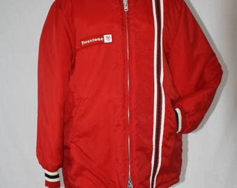 Vintage  1960's-70's Firestone Racing Jacket,  Red Avon Sportswear, Retro Hard to Find Hipster/ Swingster Quilted Racing Jacket