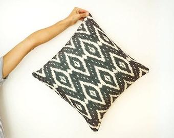 White Diamond Ikat Cushion