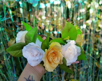White & yellow rose flower crown / wreath