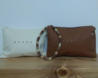Leatherette hand bag with tacks, side handle, handmade