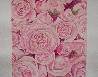 Original, One-of-a-kind Watercolour Art, A4 artwork, Watercolour Flowers, Pink Roses