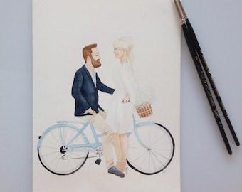 Custom Couple Portrait, Original Couple A4 Watercolour Portrait, Celebrate Love Portrait