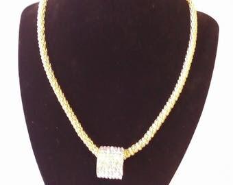 Clear & Gold Rhinestone 2 Pc. Costume Jewelry Set