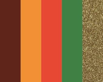 """Thanksgiving HTV Color Bundle (5) 12"""" X 9"""" Sheets, Heat Transfer Vinyl, Easy Weed, HTV, T Shirt Vinyl, Heat Press Vinyl, DIY, regular htv"""