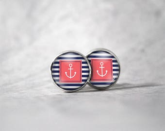 Earrings 12 mm cabochon / anchors