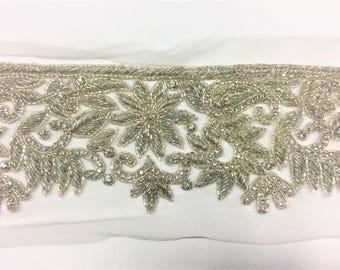 1 yard Rhinestone trim,applique trim, Bridal Applique, DIY Weddings, trim, rhinestone applique, crystal sash, bridal sash #80208/HBT