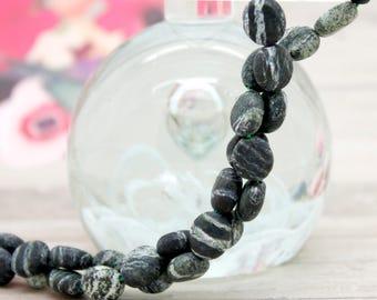 Matte Zebra Jasper Flat Round Gemstone Beads