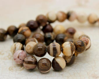 Zebra Jasper Smooth Round Natural Gemstone Beads (4mm 6mm 8mm 10mm)