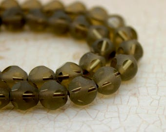 Smoky Quartz Round Faceted Gemstone Beads (4mm 6mm 8mm 10mm)