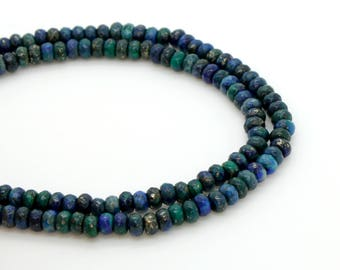 Natural Azurite Faceted Rondelle Bead Beads Gemstone Stone Rock (4mm x 2mm)