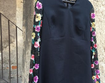 Black vintage evening dress with long sleeves hand embroidered with multicolor beads