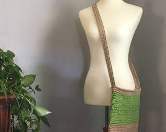 Organic Crochet, Organic Purse, Crochet Cross Body Bag, Crochet Purse, Crochet Bag, Lined Crochet Bag, Cross Body Tote, Lined Crochet Tote