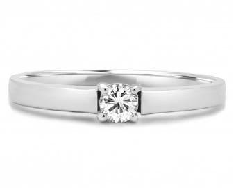 Wonderful 0.16 Carat (Ct) Round Brilliant Diamond Solitaire Engagement Ring In 14 K White Gold