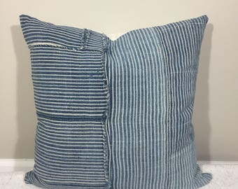 Mini Stripe Patchwork Pillow with Knit Ivory Backing {M}