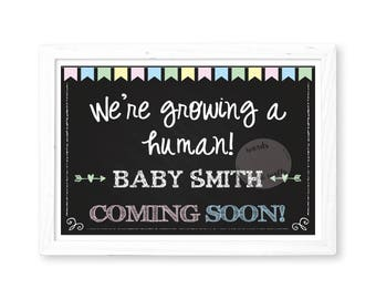Printable Pregnancy Announcement, Pregnancy Reveal, Baby Announcement, Chalkboard Sign,  Pregnancy Sign, Photo Prop, We're growing a human