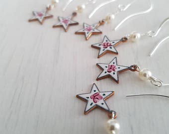 Vintage hand painted guilloche star pendant,  gold plated  earrings.