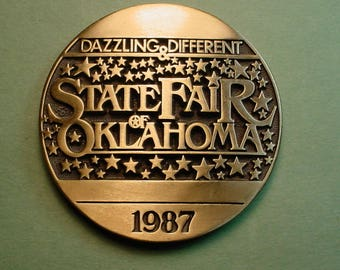 Oklahoma State Fair Medal  1987 Bronze And Beautiful  69 MM  Mint Condition<># ETB6067